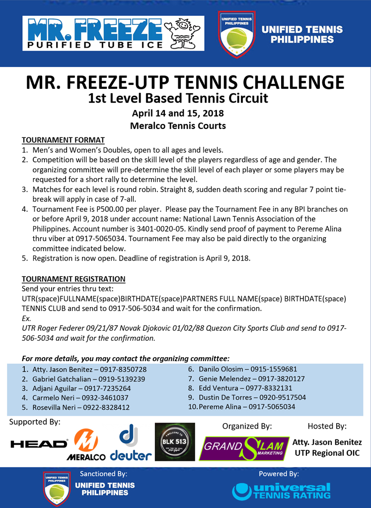 Mr. Freeze-UTP Tennis Challenge
