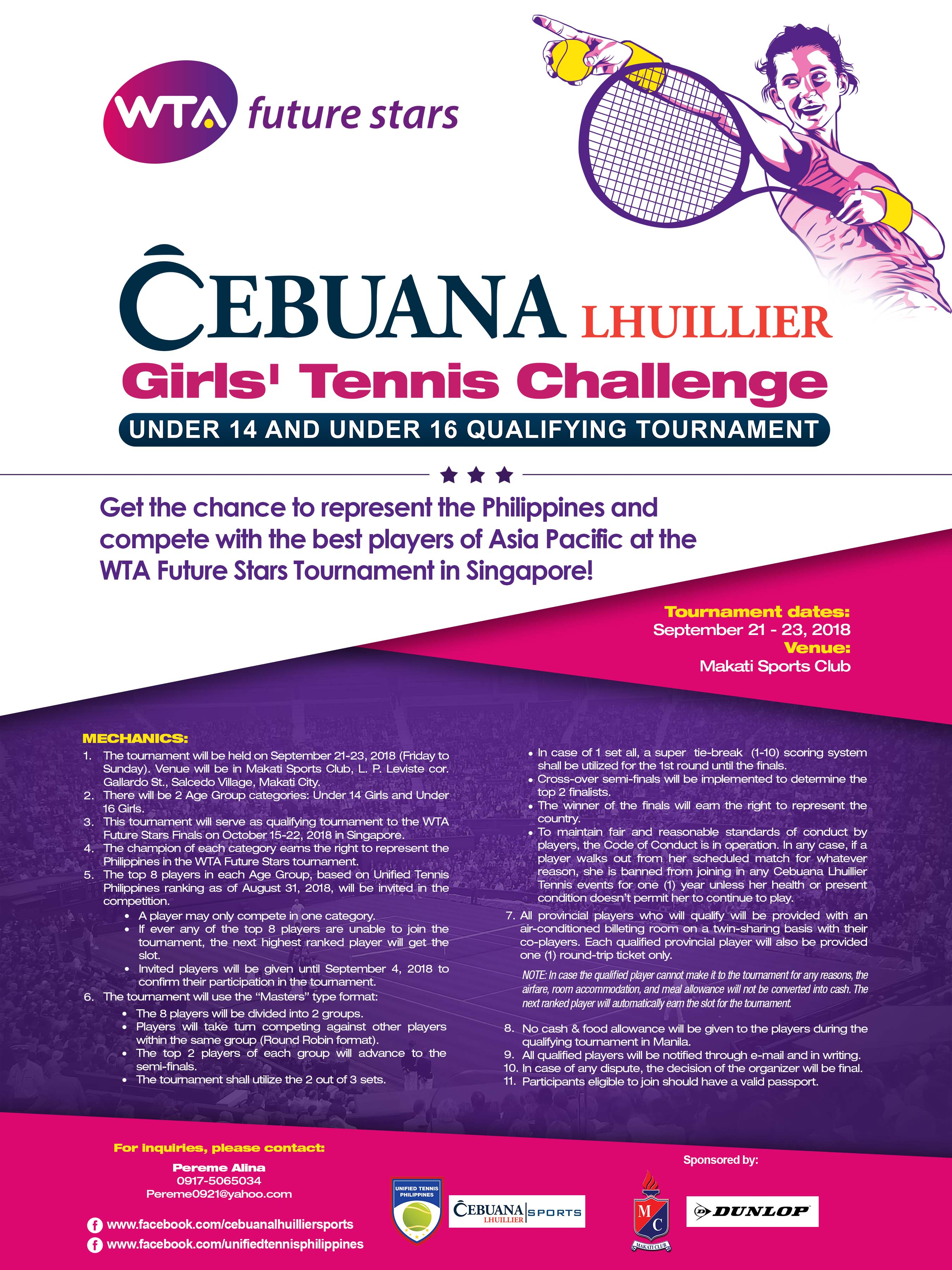 Cebuana Lhuillier Girls' Tennis Challenge Under 14 and Under 16 Qualifying Tournament
